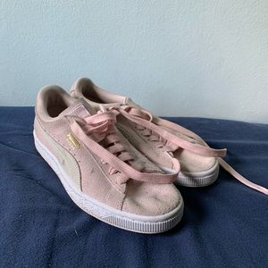 Pink puma suede women's shoes